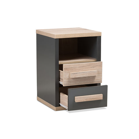 Urban Designs Pandora Dark Grey and Light Brown Two-Tone 2-Drawer Nightstand
