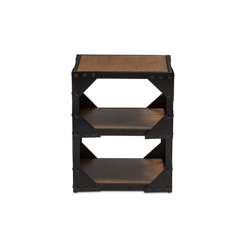 Urban Designs Hudson Black Textured Finished Metal Distressed Wood Side Table