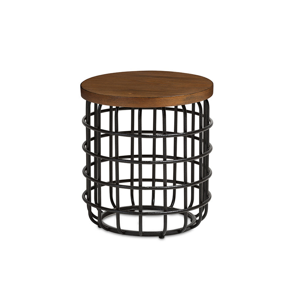 Urban Designs Carie Black Textured Finished Metal Distressed Wood Accent Table