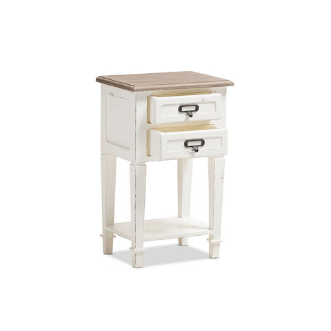 Urban Designs Weathered Oak White Wash Distressed Finish Wood Nightstand