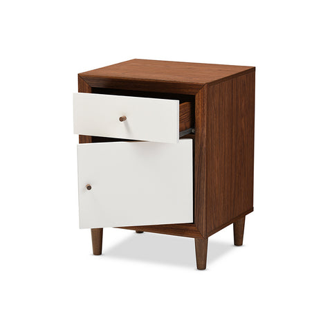 Urban Designs Harlow White and Walnut Wood 1-drawer and 1-door Nightstand