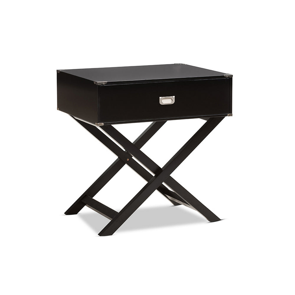 Urban Designs Curtice Modern And Contemporary Black Drawer Wooden Bedside Table