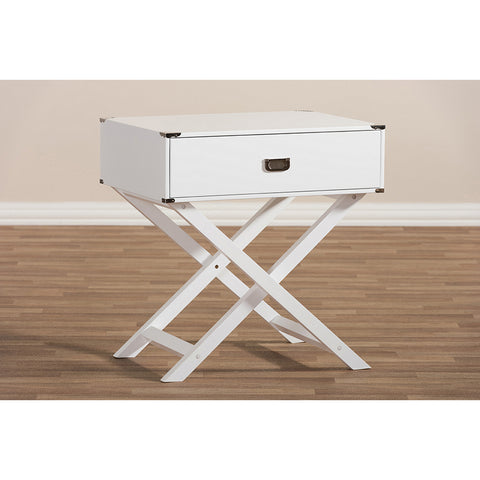 Urban Designs Curtice Modern And Contemporary White Drawer Wooden Bedside Table