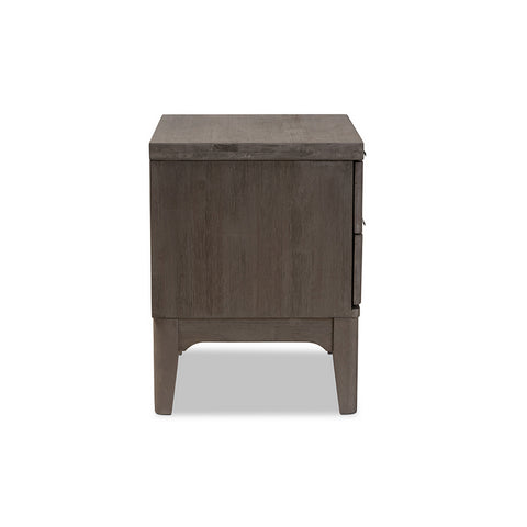 Urban Designs Genoa Rustic Platinum Wood 2-Drawer Nightstand