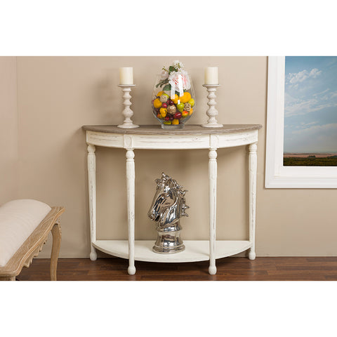 Urban Designs Vologne Traditional White Wood French Console Table