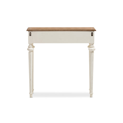 Urban Designs Weathered Oak White Wash Distressed Wood Two-Tone Console Table