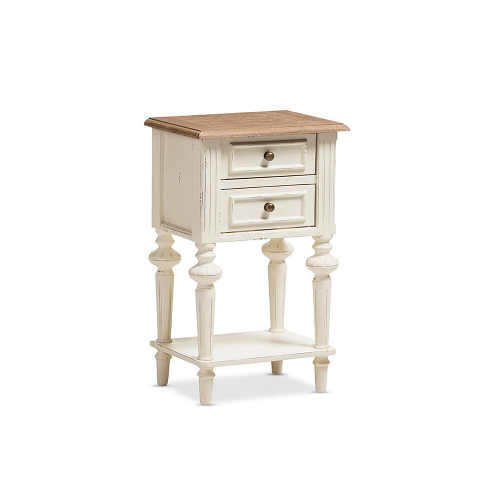 Urban Designs Weathered Oak White Wash Distressed Finish Two-Tone Nightstand