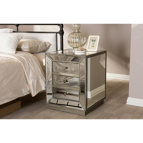 Urban Designs Cardiff Contemporary Mirrored 3-Drawer Nightstand
