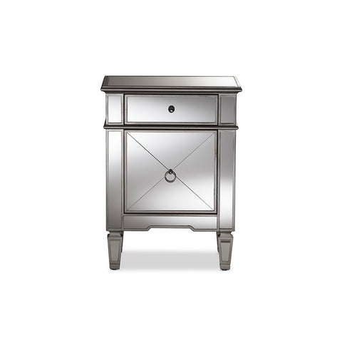 Urban Designs Nottingham Glamour Style Mirrored Nightstand
