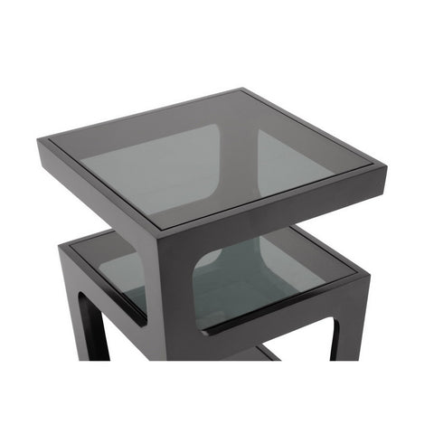 Urban Designs Clara Black Modern End Table with 3-Tiered Glass Shelves