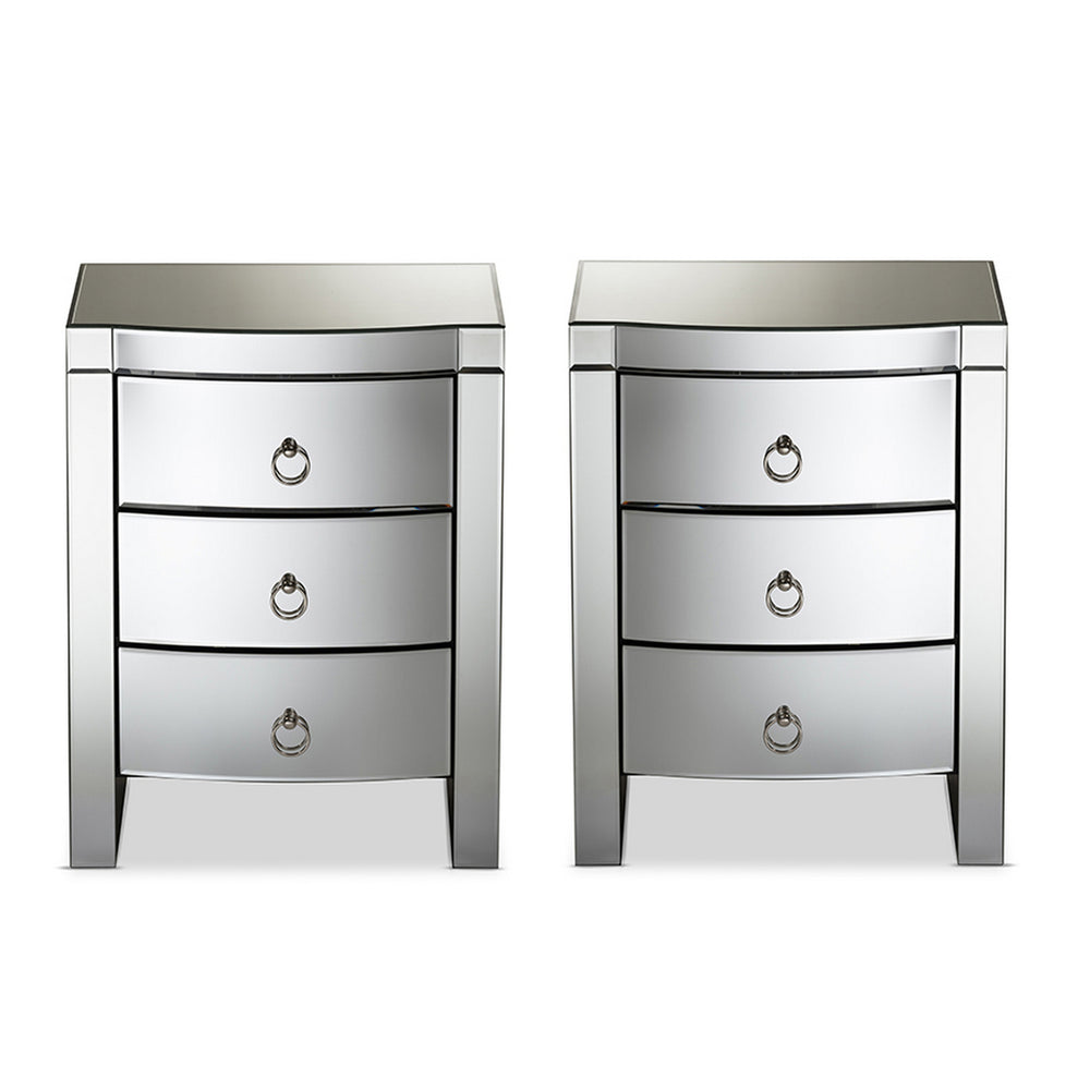 Urban Designs Athens Glamour Style Mirrored 3-Drawer Nightstand, Set of 2