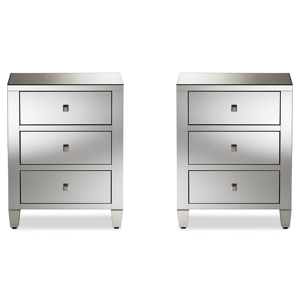 Urban Designs Madrid Glamour Style Mirrored 3-Drawer Nightstand, Set of 2