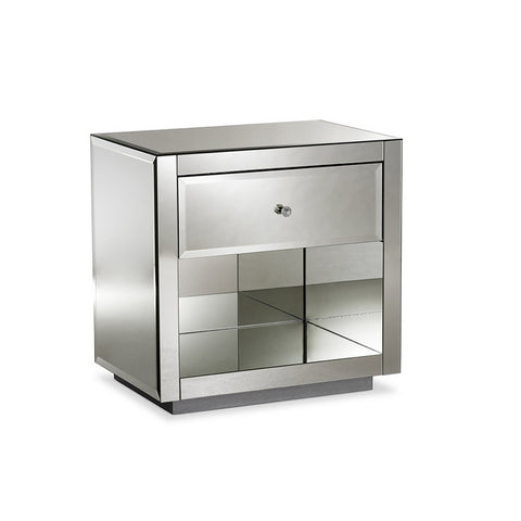 Urban Designs Porto Glamour Style Mirrored 1-Drawer 1-Shelf Nightstand, Set of 2