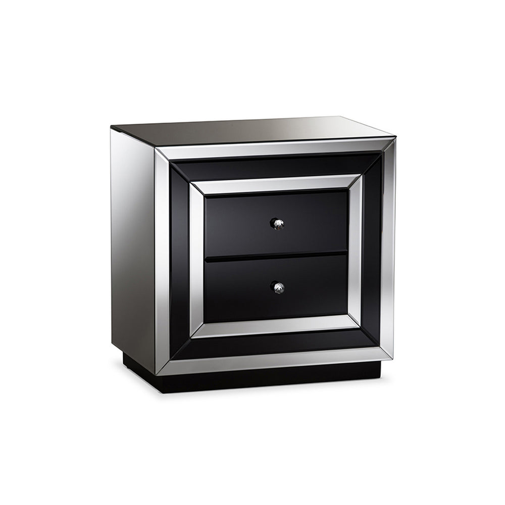 Urban Designs Milano Glamour Style Mirrored 2-Drawer Nightstand