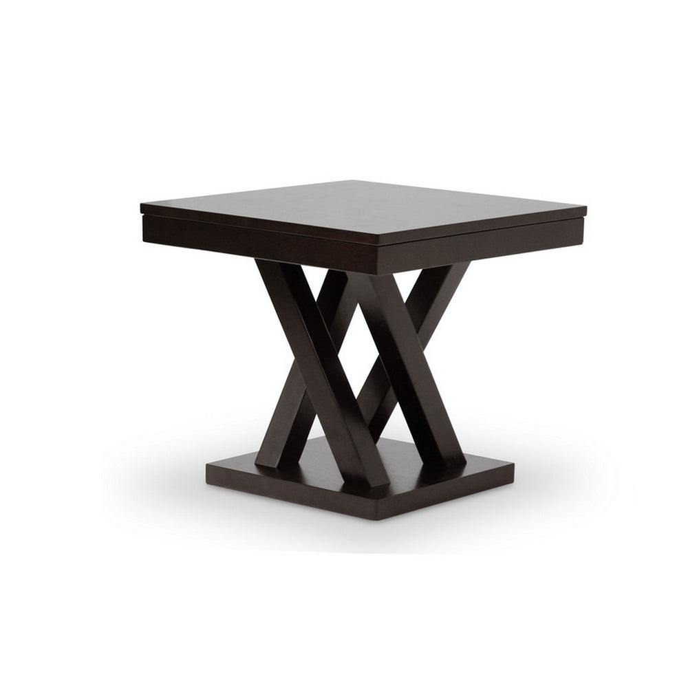 Urban Designs 20-Inch Everdon Dark Brown Modern End Table