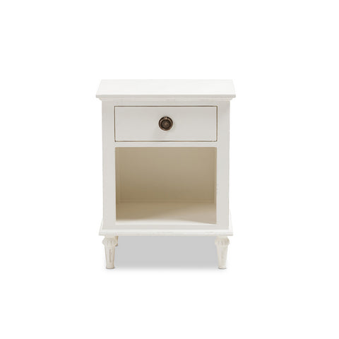 Urban Designs Rome French-Inspired Rustic Whitewash Wood 1-Drawer Nightstand