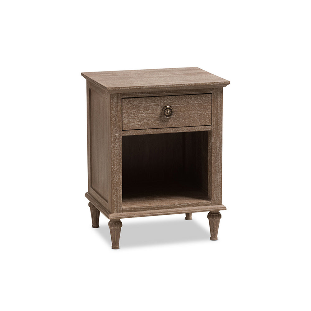 Urban Designs Rome Rustic Grey Wash Finish Wood 1-Drawer Nightstand