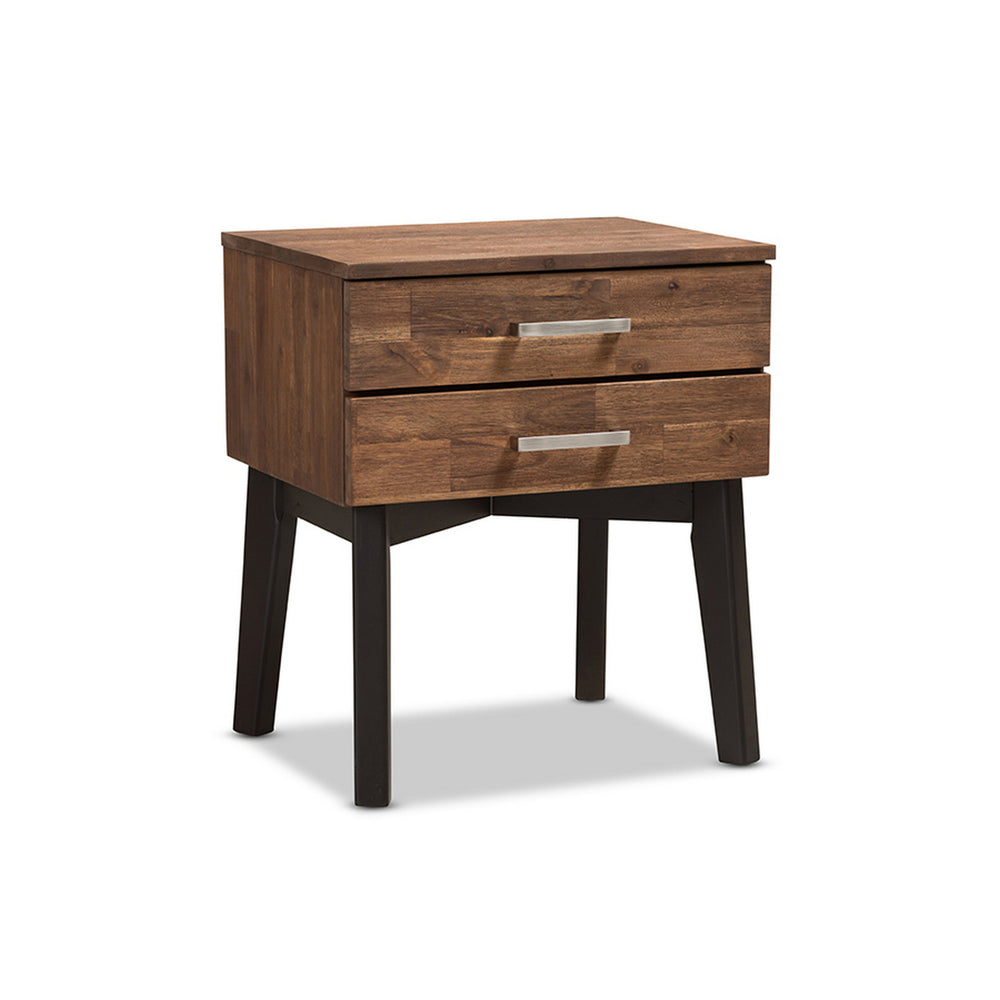 Urban Designs Hamburg Mid-Century Modern Brown Wood 2-Drawer Nightstand