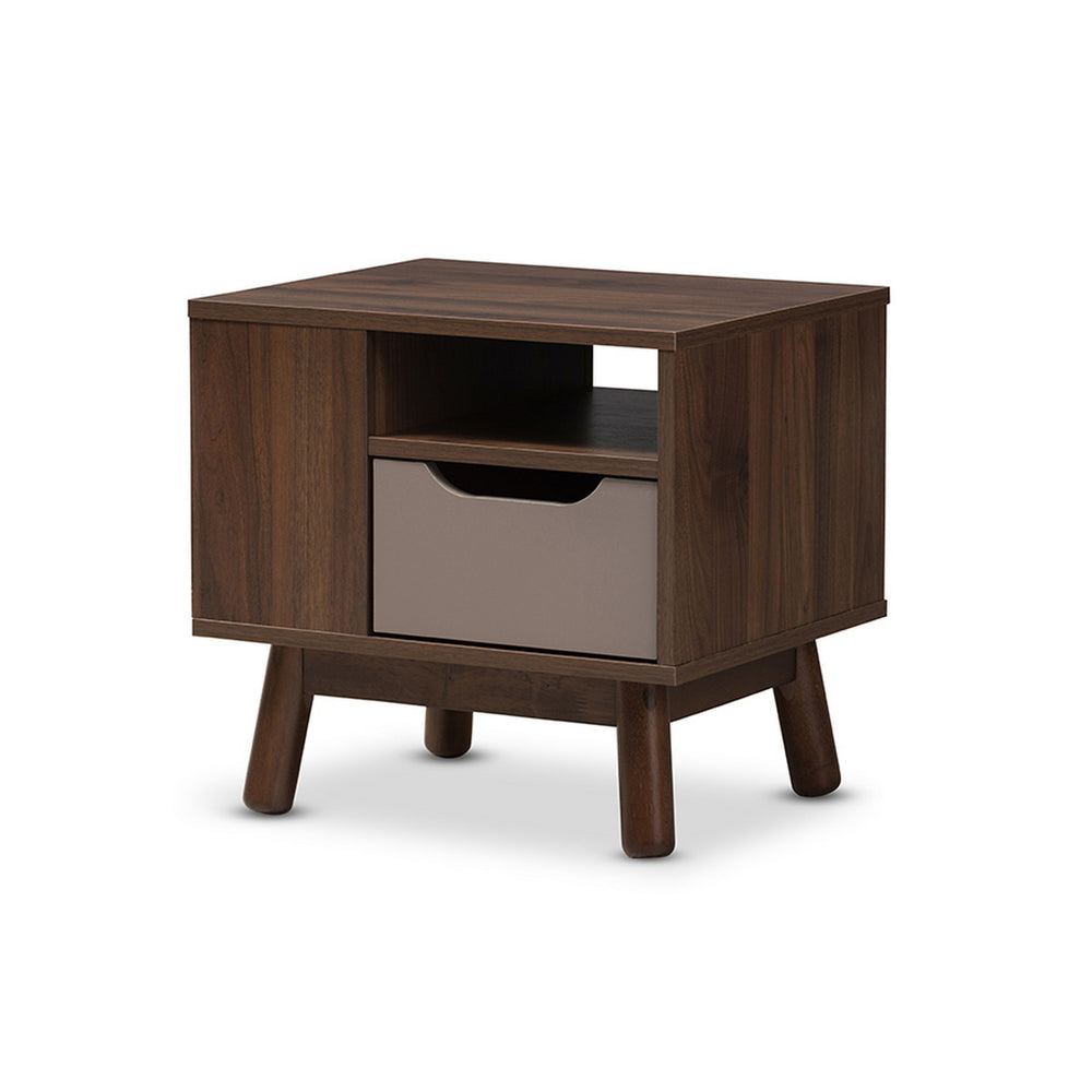 Urban Designs Britta Walnut Brown and Grey Two-Tone Finished Wood Nightstand