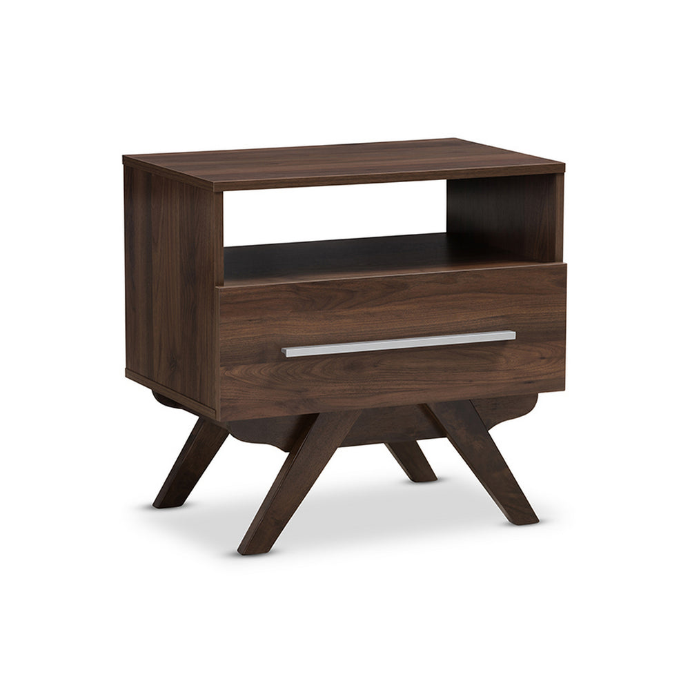 Urban Designs Ashfield Mid-Century Modern Walnut Brown Finished Wood Nightstand