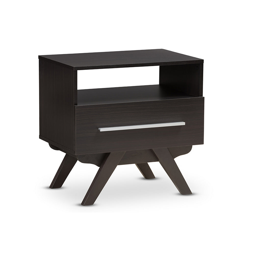 Urban Designs Ashfield Mid-Century Espresso Brown Finished Wood Nightstand