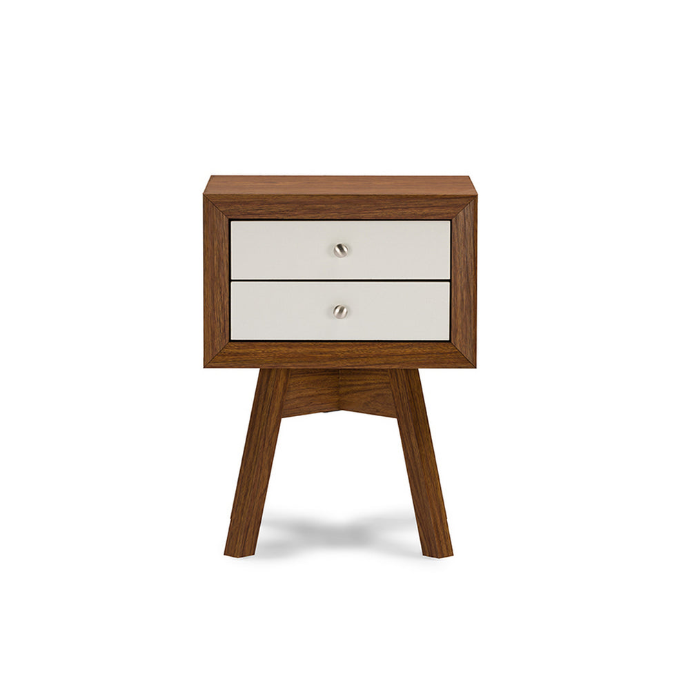 Urban Designs Warwick Two-tone Walnut and White Modern Accent Table Nightstand