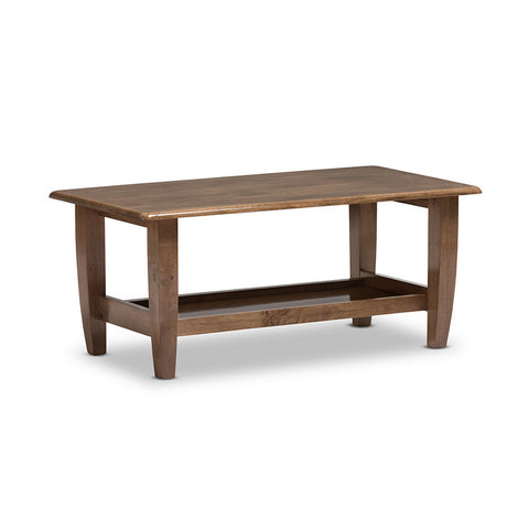 Urban Designs Pierce Mid-Century Modern Walnut Finished Brown Wood Coffee Table