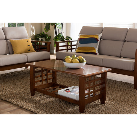 Urban Designs Larissa Modern Classic  Cherry Finished Brown Wood Coffee Table