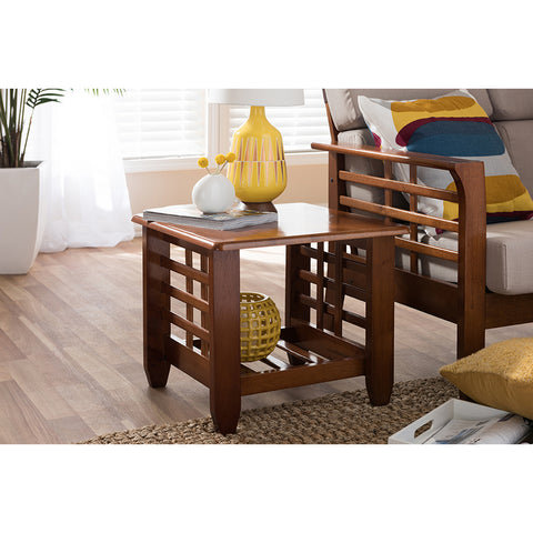 Urban Designs Larissa Modern Cherry Finished Brown Wood End Table