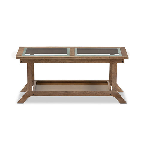 "Urban Designs Cayla Modern ""Walnut"" Brown Wood Glass-Top Coffee Table"
