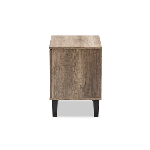 Urban Designs Swanson Modern Light Brown Wood 2-Drawer Nightstand