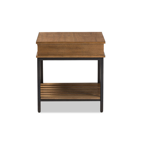 Urban Designs Newcastle Oak Brown Finished Wood Black Metal End Table