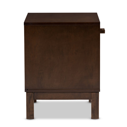Urban Designs Reanne 1-Drawer Wood Nightstand with Shelf in Brown