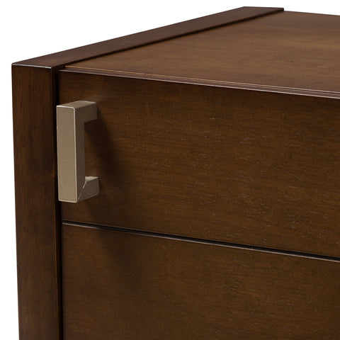 Urban Designs Kouma Wooden Nightstand with Door in Brown Finish