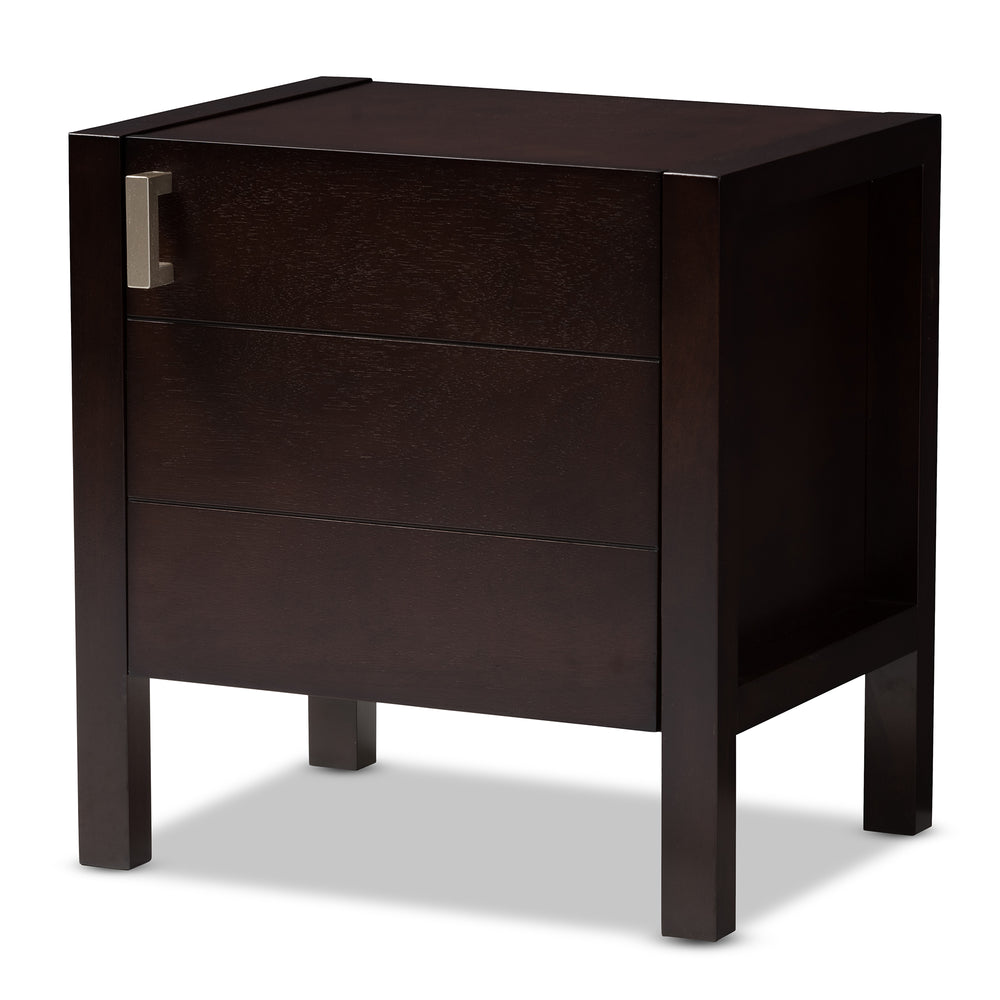Urban Designs Kouma Wooden Nightstand with Door in Dark Brown Finish