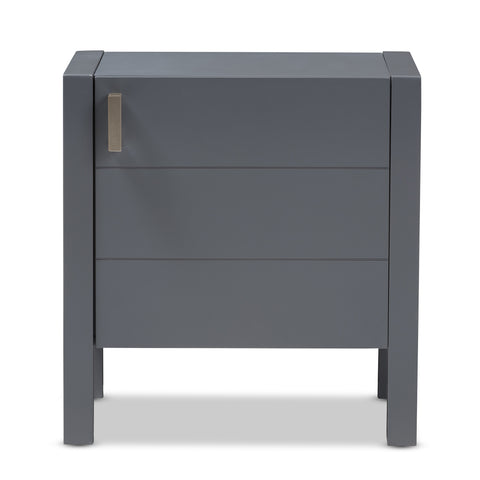 Urban Designs Kouma Wooden Nightstand with Door in Grey Finish