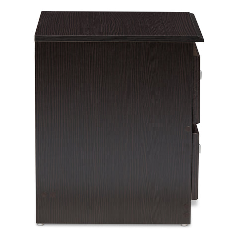 Urban Designs Alima 2-Drawer Wooden Nightstand in Wenge Brown Finish