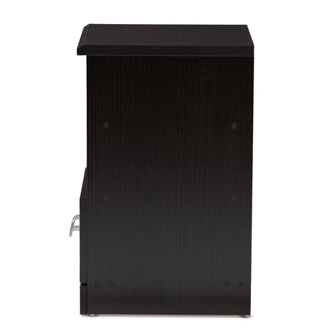 Urban Designs Teresa 1-Drawer Wooden Nightstand in Wenge Brown Finish