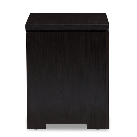 Urban Designs Felix 1-Drawer Wooden Nightstand in Wenge Brown Finish
