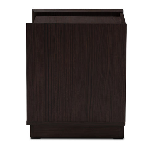 Urban Designs Whelan 2-Drawer Wooden Nightstand in Wenge Brown Finish
