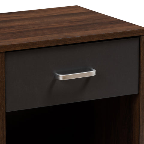 Urban Designs Harris 1-Drawer Wooden Nightstand in Walnut Brown & Dark Grey Finish