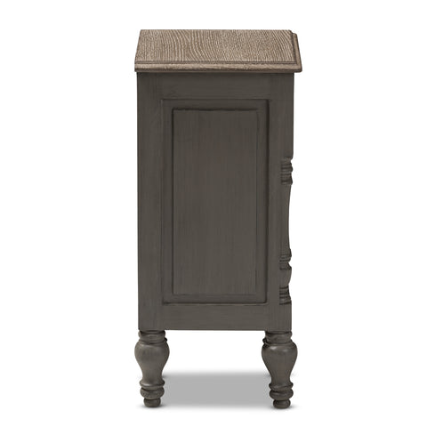 Urban Designs Ellise Rustic 2-Drawer Wooden Nightstand in Brown Finish