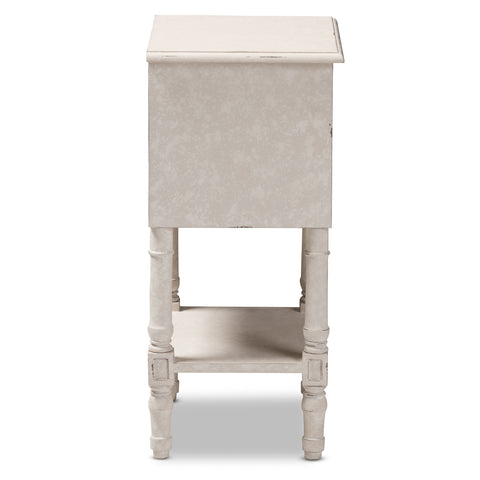 Urban Designs Chloe Rustic 2-Drawer Wooden Nightstand in Whitewash Finish
