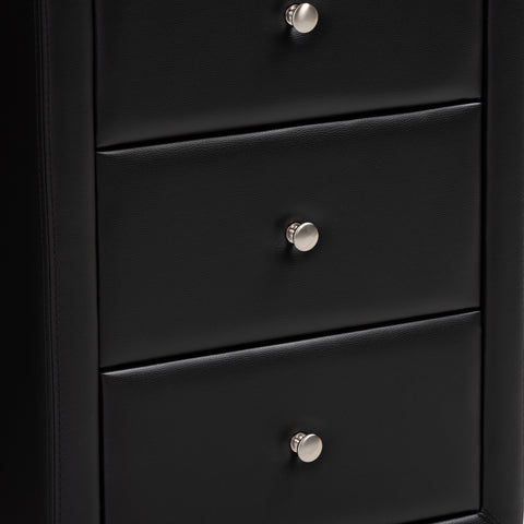 Urban Designs Haley Faux Leather Upholstered 3-Drawer Nightstand in Black Finish