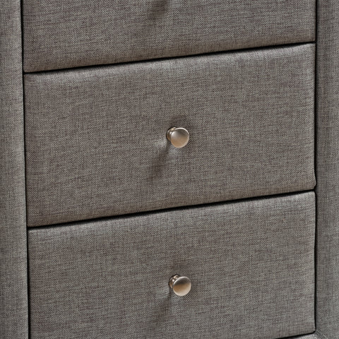 Urban Designs Haley Fabric Upholstered 3-Drawer Nightstand in Grey Finish