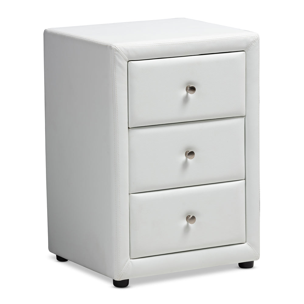 Urban Designs Haley Faux Leather Upholstered 3-Drawer Nightstand in White Finish
