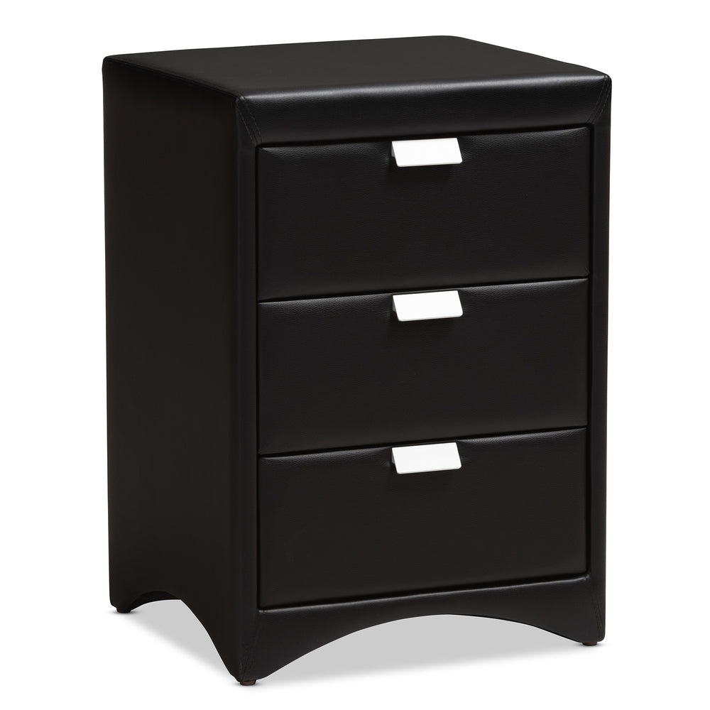 Urban Designs Sonia Faux Leather Upholstered 3-Drawer Nightstand in Black Finish