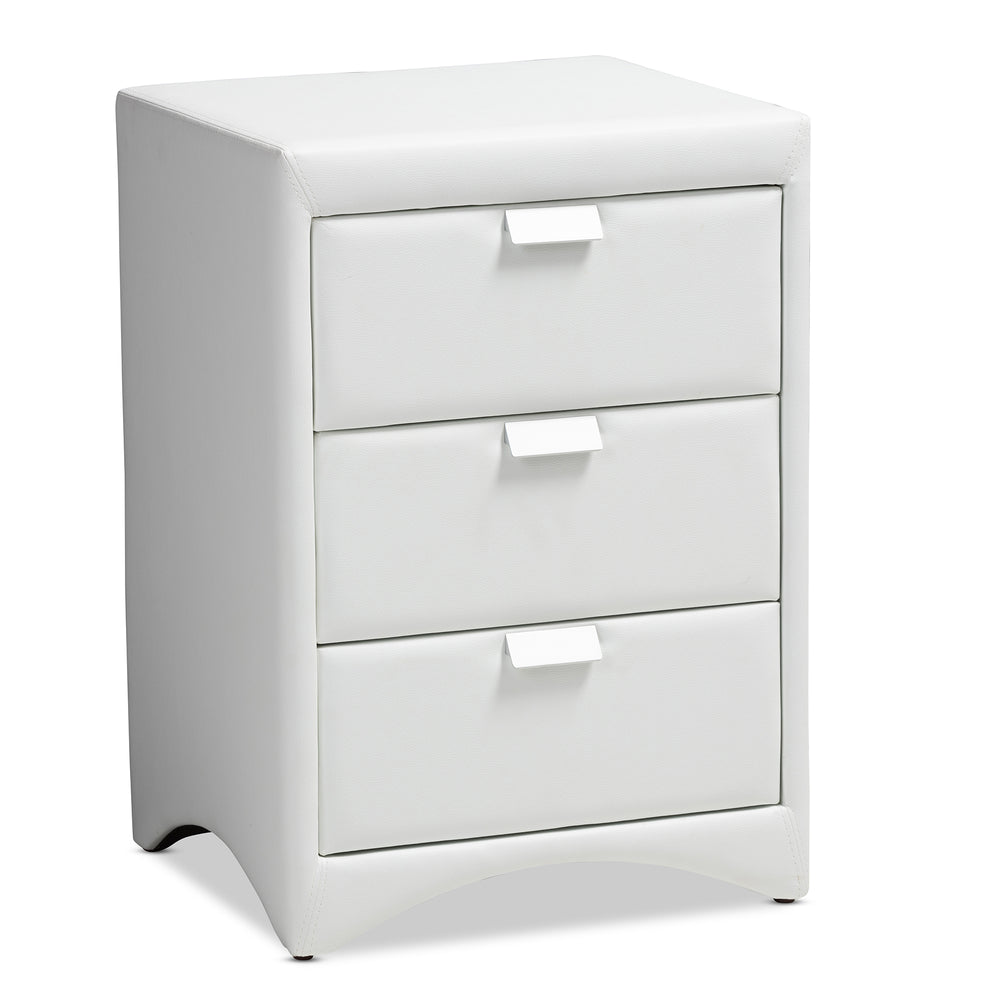 Urban Designs Sonia Faux Leather Upholstered 3-Drawer Nightstand in White Finish