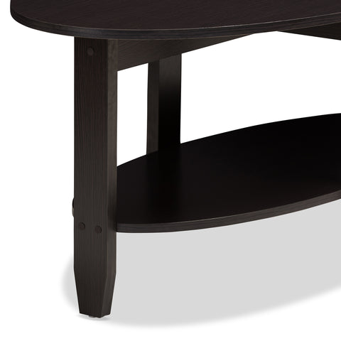 Urban Designs Alyson Wooden Coffee Table in Wenge Brown Finish