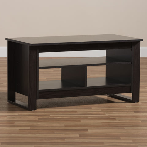 Urban Designs Cleo Wooden Coffee Table in Wenge Brown Finish